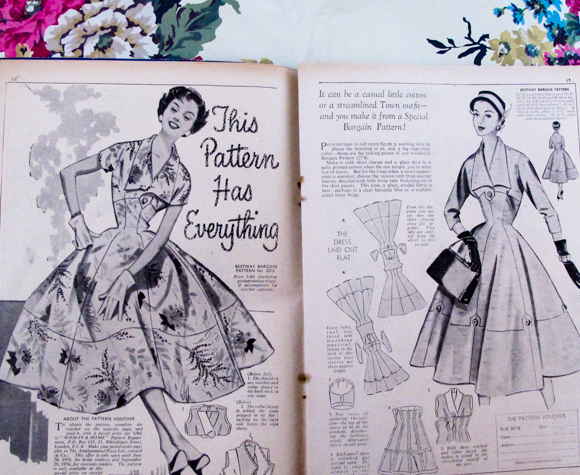 This Pattern Has Everything! Princess lines to suit every figure, a swirling skirt to please the feminine in us, and a big important collar. The Woman and Home March 1956.