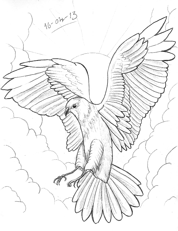 Doves And Clouds Drawing
