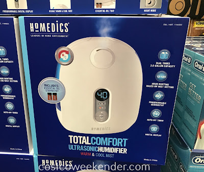 Breathe easier and sleep better with the HoMedics Total Comfort Ultrasonic Humidifier