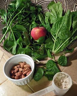 Variety of Greens, Apple, Almonds, Protein Powder