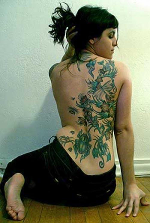 Mixfashion Flower Lily Vine Back Tattoo Designs For Girls