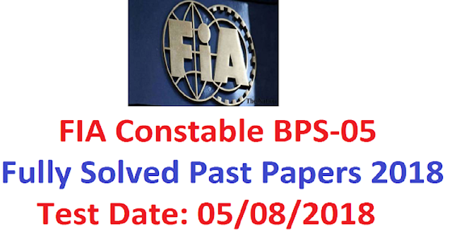 FIA Constable Past Papers 2019
