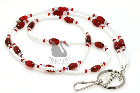 Candy Cane Red White Pearl Crystal Beaded Lanyard (L104)
