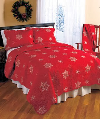CRIMSON RED QUILTED BEDDING SET WITH EMBROIDERED SNOWFLAKE DESIGN & VERMICELLI STITCHING