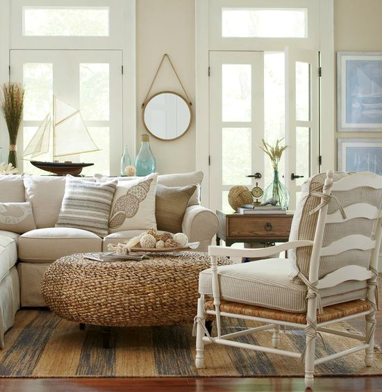Rustic Beige Beach Cottage Living Room Birch Lane