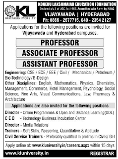 K.L University, Hyderabad,  Faculty Jobs Vacancy Details