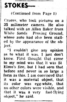 Egg-Shaped UFO Stalls Cars On Highway (-cont) - Alamogordo Daily News 11-5-1957
