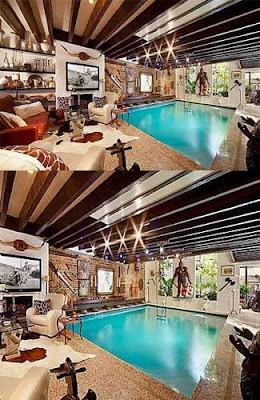 foto rumah dengan kolam renang indoor super mewah
