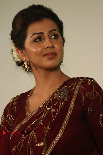 South Indian Actress Nikki Galrani Stills in Red Designer Saree at Maragadha Naanayam Tamil Movie Audio Launch  0004.jpg