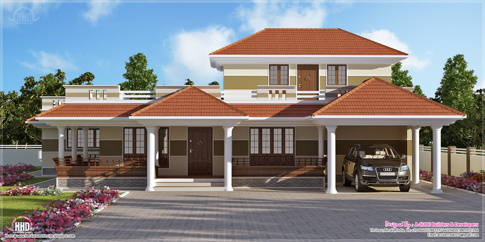 3 bedroom kerala style villa exterior kerala home design for House plans in kerala with 2 bedrooms