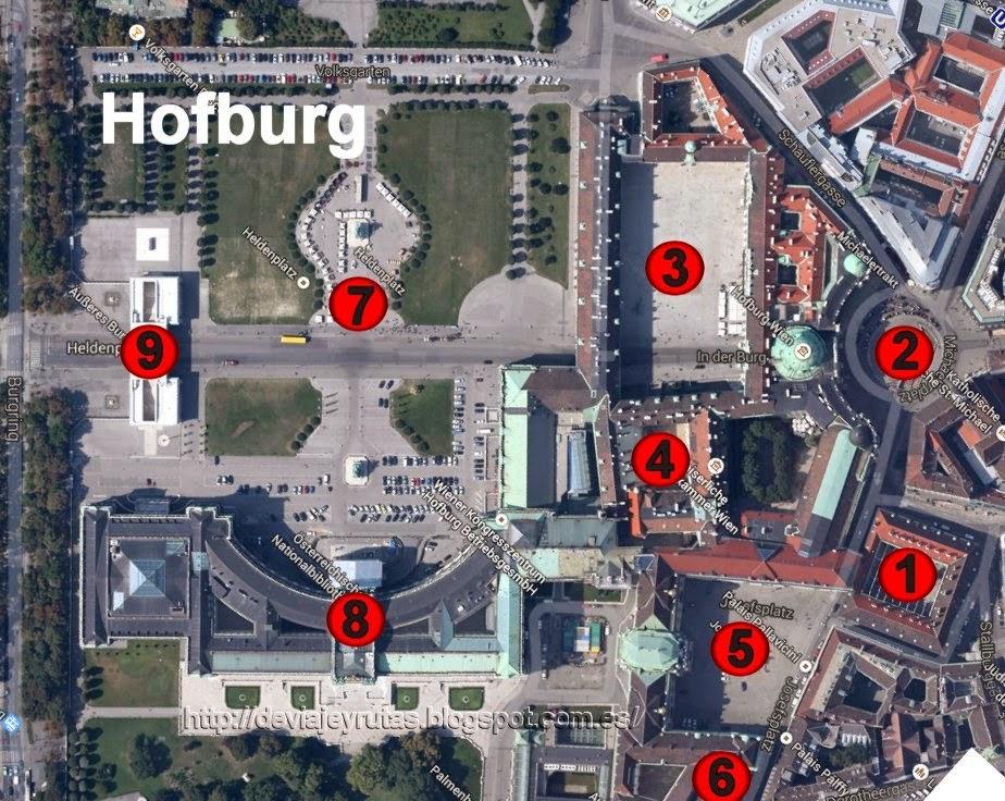 Mapa del Palacio de Hofburg de Viena