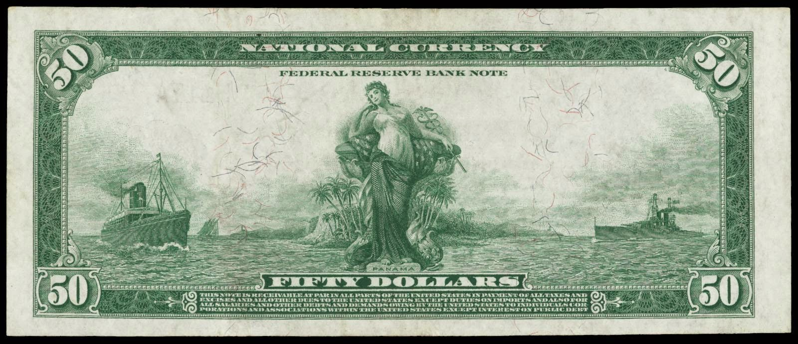 US paper money Fifty Dollar National Currency From Series of 1918