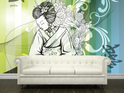 Wall decor japanese interior design styles for Asian mural wallpaper