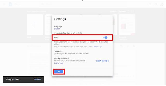 google docs settings