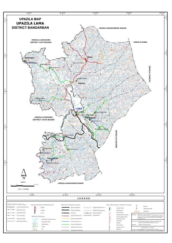 Lama Upazila Map Bandarban District Bangladesh