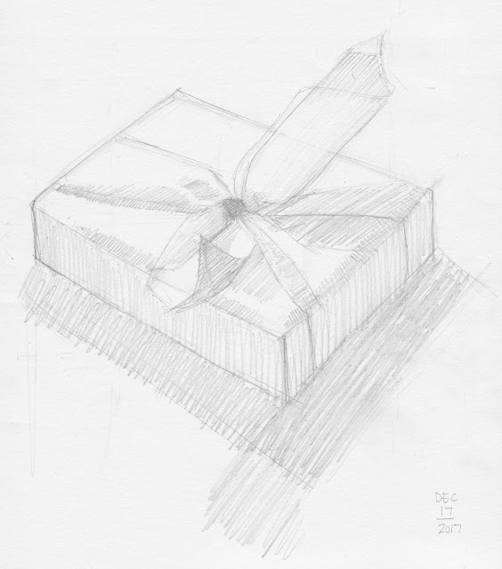 Daily Art 12-17-17 still life sketch in graphite number 74 - wrapped gift