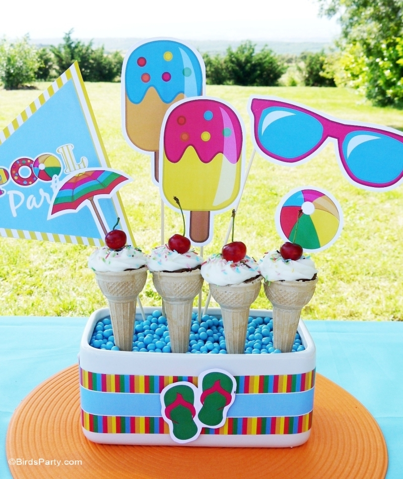 Pool Party Ideas Kids 18 ways to make your kids pool party epic brit co Pool Party Ideas Printables Kids Summer Party Birdspartycom
