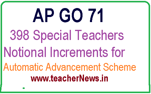 GO 71 - 398 Special Teachers Notional Increments for AAS Scheme