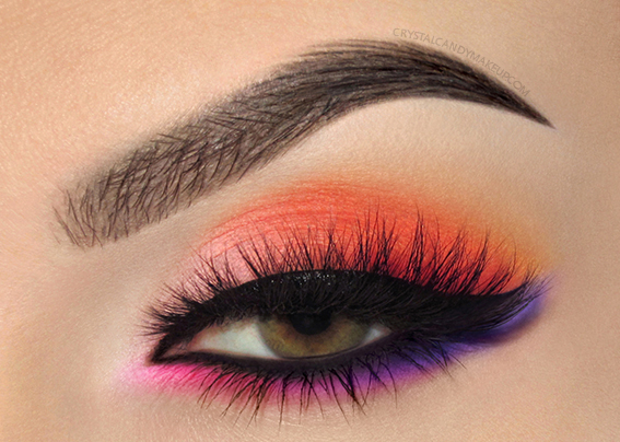 Makeup Of The Day Sunset Pink Orange Bright EOTD MUFE Aqua XL Color Paints M70 M82 M90