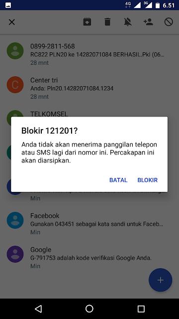 Cara Memblokir SMS masuk.