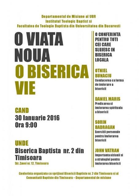 Conferinta O viață nouă, o biserică vie la Timisoara - 30 ian 2016