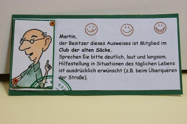 Mitgliedsausweis Club Der Alten Säcke 2. Variante