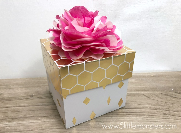 5 little monsters paper gift box with tissue paper flower it is once again time for the create with cricut challenge and this month we were challenged to make something with tissue paper mightylinksfo