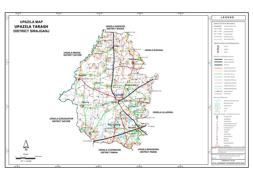 Tarash Upazila Map Sirajganj District Bangladesh