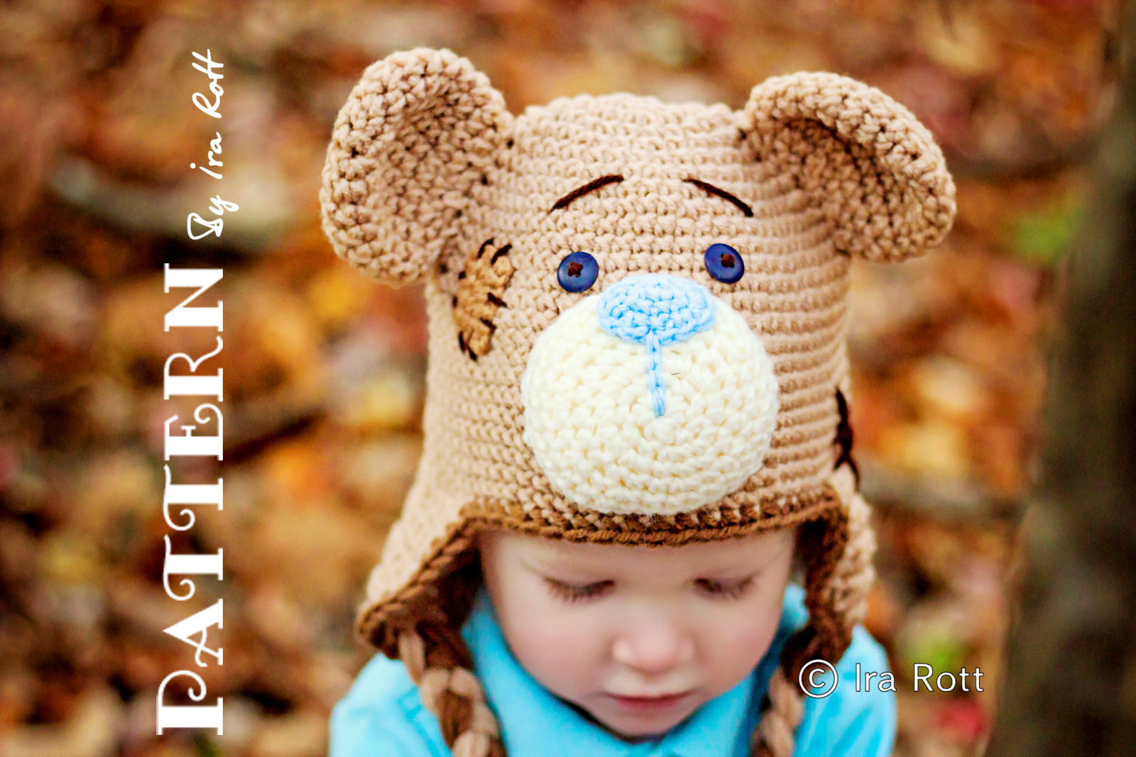 Fashion Crochet Design By Ira Rott  PATTERN - Classic Teddy Bear Hat ... 1bfb6626cf5