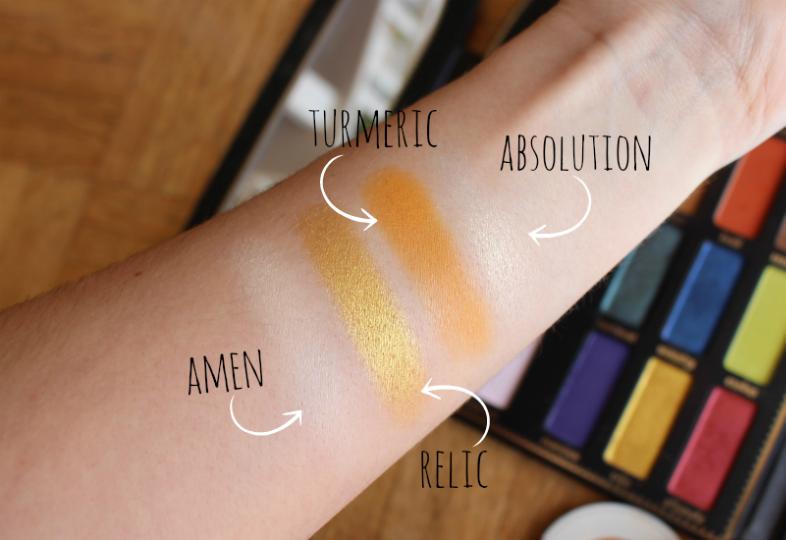 Swatch pour le maquillage jaune