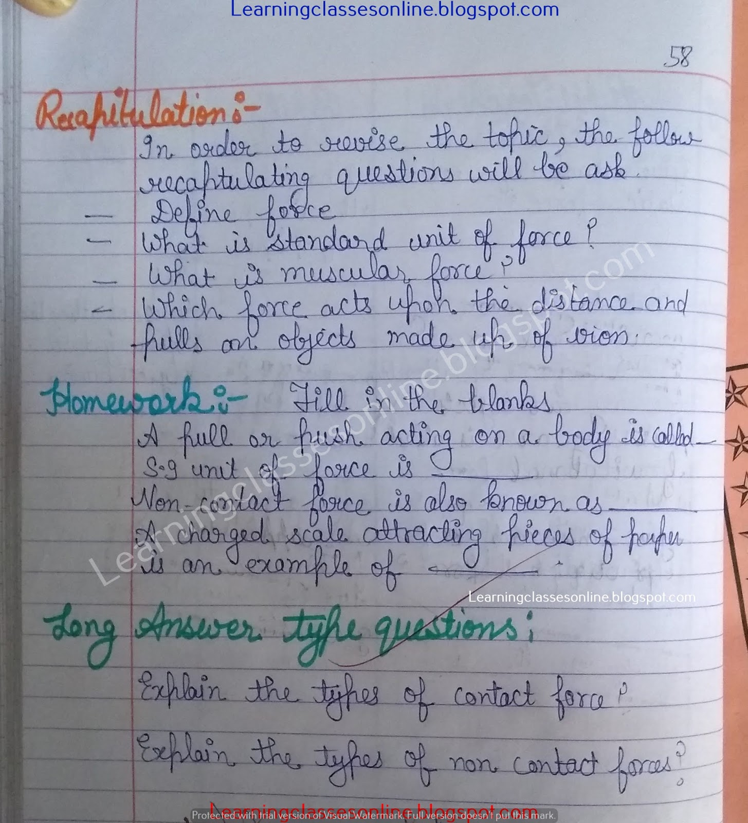 Science Lesson Plan on force, unit of force, muscular force, contact force and non-contact force for grade 6, 7 and 8 teachers