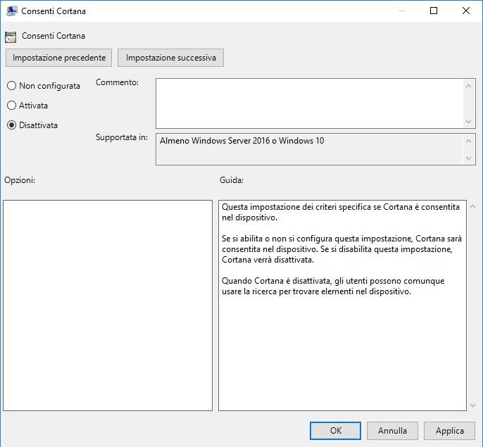 Disattivare Cortana tramite l'Editor di Criteri di gruppo locali