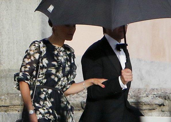 Crown Princess Victoria wore an H&M Patterned Silk Dress from H&M Conscious Exclusive collection at Rebecka and Gustaf Wiiburg's birthday party