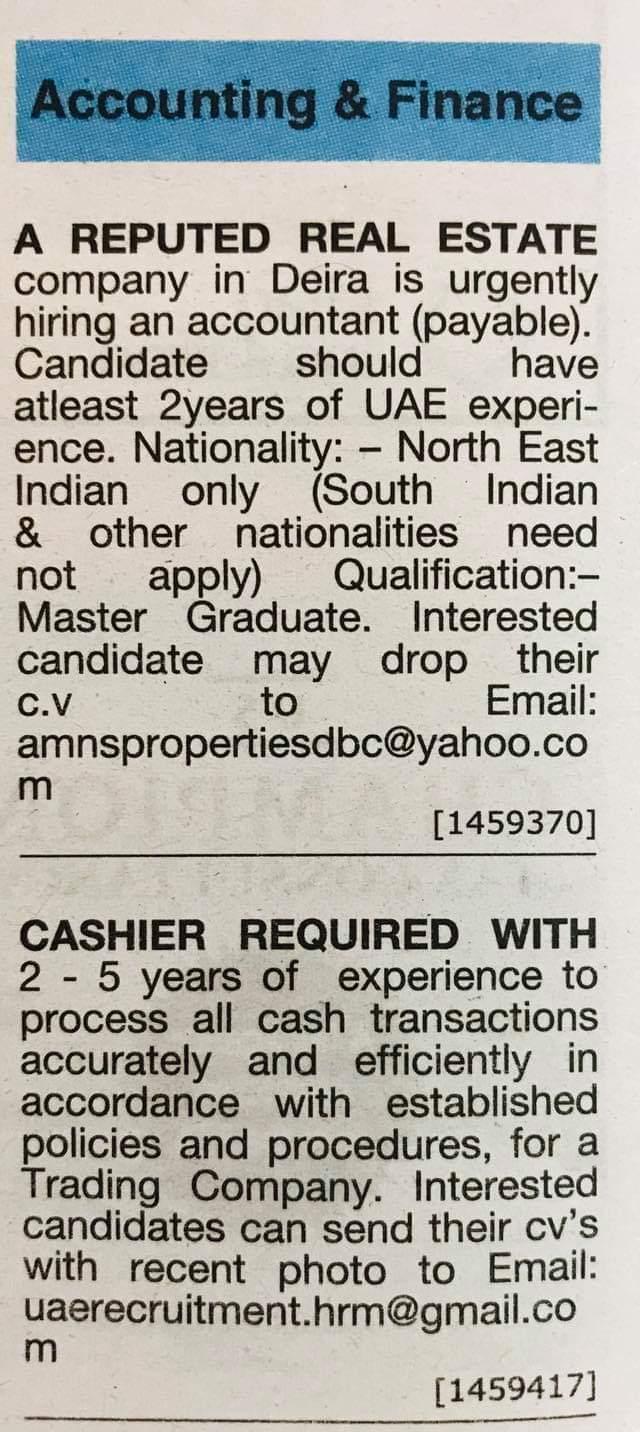 Required Accountant & Cashier for UAE JOBS Local Hiring Khaleej