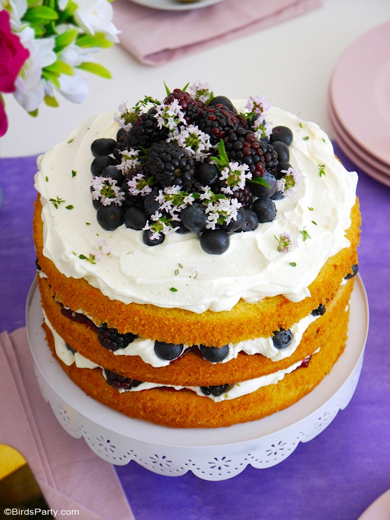 Lemon and Berries cake with Mascarpone Frosting - delicious, easy to bake and decorate dessert, perfect for  a baby or bridal shower or any party! by BirdsParty.com @birdsparty #cake #cakerecipe #lemoncake #layredcake #layercake #summercake #berriescake #mascarponefrosting #recipe #cakerecipe