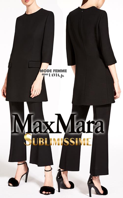 Ensemble tunique et pantalon 3/4 évasé noir MAX MARA