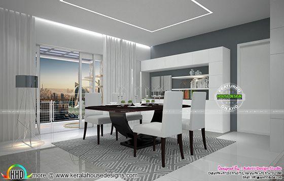 Flat interior designs in kerala kerala home design and for Dining room designs in kerala