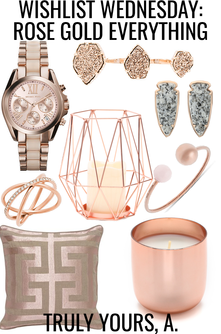 I am loving rose gold for fall! It pairs so well with almost any color worn around this time of year. You can also mix and match it with classic gold and silver to get more wear out of your pieces. I only own a couple pieces of rose gold jewelry, but I can't wait to invest in more as the season goes on.  I'm also adding rose gold touches to my home decor. Regular yellow gold plays a huge part in the color scheme of my apartment, but I'm slowly transitioning to rose gold for fall! Today I'm sharing my favorite rose gold finds to wear and in home decor!