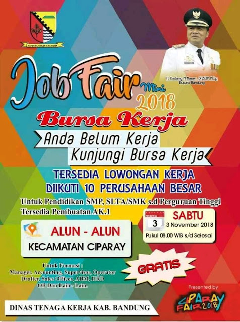 Job Fair / Bursa Kerja Kabupaten Bandung 2018 GRATIS