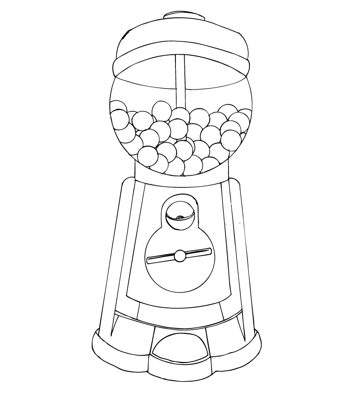 empty gumball machine coloring pages | Gumball Machine Coloring Pages