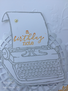 Birthday card with P.S. You're the best and Lovely Floral Embossing Folder