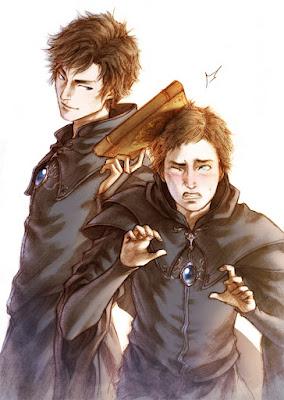 Ilustración de Hazan y Clarence realizada por la ilustradora Lehanan Aida para la novela de fantasía Títeres de la Magia de G. Parente y Selene M. Pascua