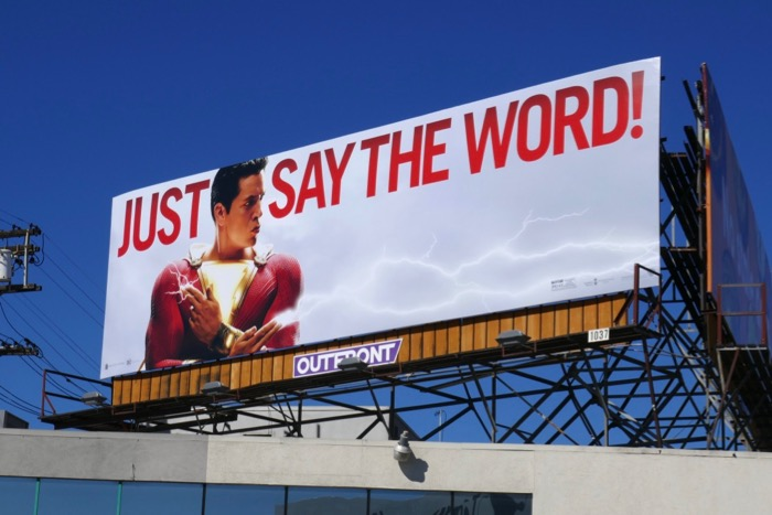 Shazam Just say the word billboard