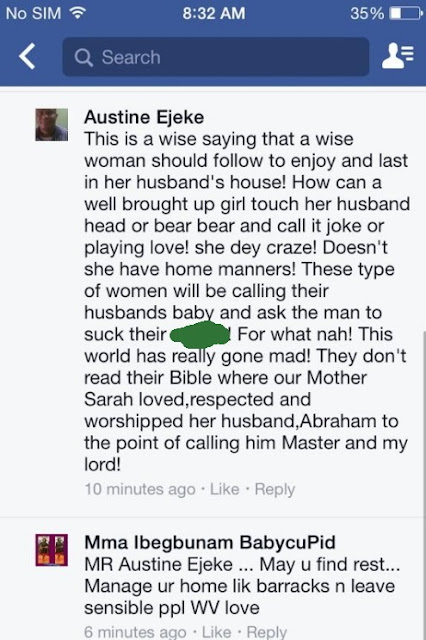 Nigerian Man Raises Eyebrows, Says Women Who Touch Their Husband' Head Lack Good Manners
