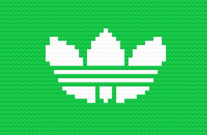 Logotipo Adidas usando LEGO