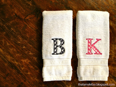 single letter monogram on hand towels
