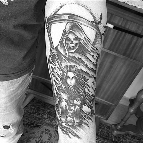 grim reaper tattoos with woman azrail dövmeleri