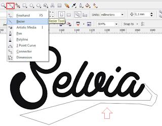 membuat objek dengan bazier tool, desain tipografi