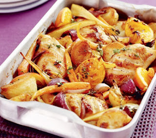 thyme chicken with root vegetables recipe