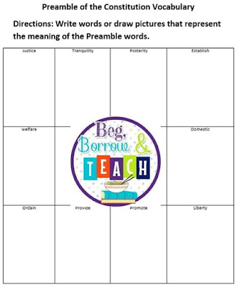 Constitution Day activities.  Vocabulary graphic organizer for the Preamble to the Constitution.